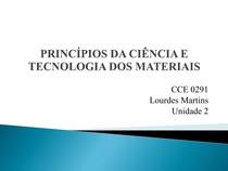 PRINCÍPIOS DA CIÊNCIA E TECNOLOGIA DOS MATERIAIS - UNIDADE 2