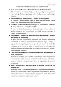QUESTIONÁRIO DE GESTÃO HOSPITALAR- PERGUNTAS E RESPOSTAS