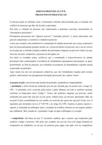 Processo Civil - Resumo sobre Pressupostos Processuais