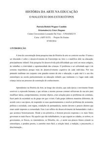 1 PARTE DO TCC  ESTEREÓTIPOS EM ARTES VISUAIS NA EDUCAÇÃO INFANTIL