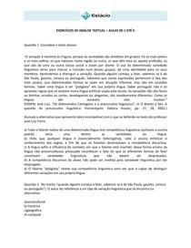 CEL0014-WL-EXE-Análise Textual - Aulas 01 a 04 - Exercícios - 2013