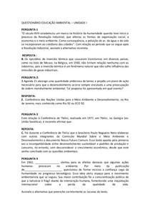 QUESTIONÁRIO EDUCAÇÃO AMBIENTAL UNIDADE I   UNIP
