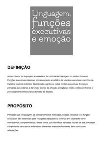 Linguagem, funções executivas, motivação e emoção