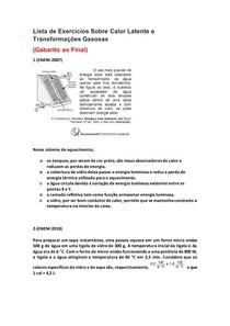 Lista de Exercícios de Física do Enem Sobre Calor Latente e Transformações Gasosas