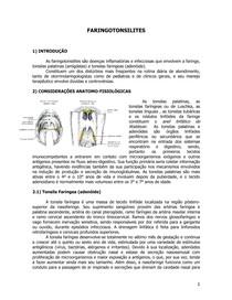 Faringoamigdalites e Adenoamigdalectomia