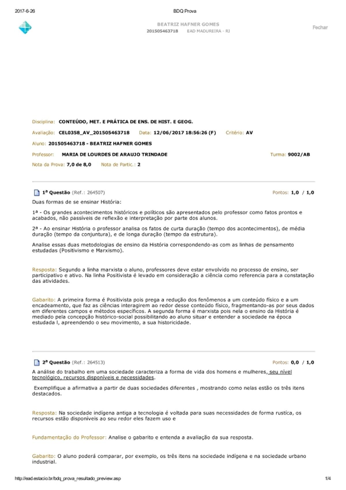 Pre-visualização do material AV CONTEÚDO, MET. E PRÁTICA DE ENS. DE HIST. E GEOG. - página 1
