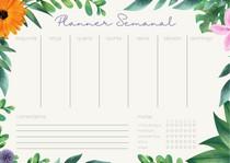 Planner semanal floral - Organize seus eventos e sua saúde