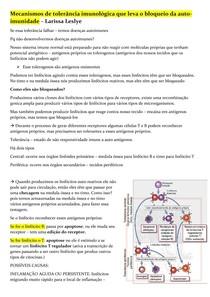 Mecanismos de tolerância imunológica que leva o bloequeio da auto-imunidade
