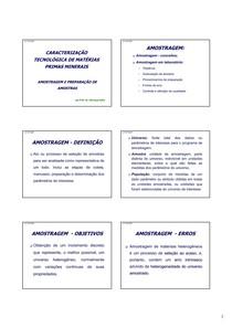 Caracterização de Materias Primas Minerais - Amostragem e preparação de amostras