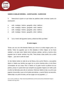 ACENTUAÇÃO   Exercícios Espanhol