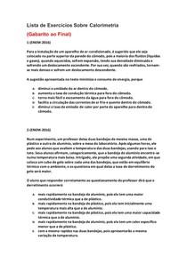 Lista de Exercícios de Física do Enem Sobre Calorimetria - Parte 6