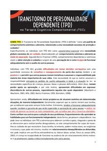 TRANSTORNO DE PERSONALIDADE DEPENDENTE na Terapia Cognitiva Comportamental (TCC)