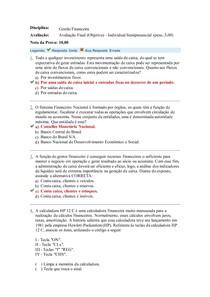 Gestão financeira Avaliação Final ADMINISTRAÇÃO UNIASSELVI