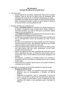 Ecologia Bacteriana da Cavidade Bucal - Microbiologia II