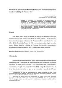 A evolução da intervenção do Ministério Público como fiscal da ordem jurídica à luz do novo Código de Processo Civil - Kleydson Muniz da Silva