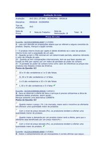 Fundamentos de Economia - (11) - AV2 - 2011.2