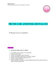 Resumo técnicas anestésicas palato - (Malamed) - bloqueio do nervo nasopalatino