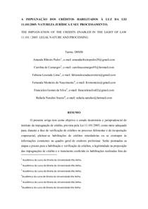 A IMPUGNAÇÃO DOS CRÉDITOS HABILITADOS À LUZ DA LEI 11.101