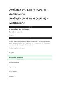 AOL 4 METODOLOGIA DO ENSINO DA MATEMÁTICA