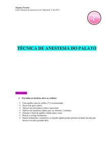 Resumo técnicas anestésicas palato - (Malamed) - infiltração e bloqueios