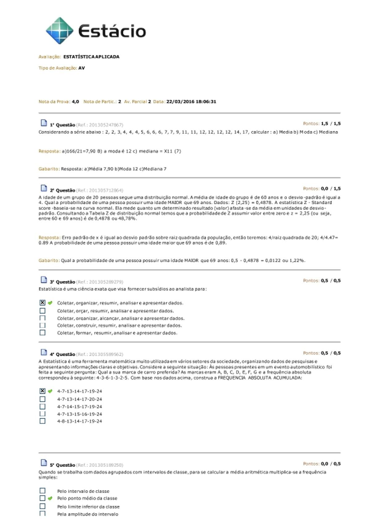 Pre-visualização do material AV ESTATÍSTICA APLICADA - página 1