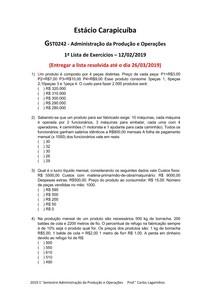 2019 1° Semestre Administração da Produção e Operações 1° Lista de Exercícios Aula 12022019 rev 1