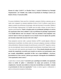 Covid- 19 e atuação em Psicologia Organizacional e do Trabalho (RESUMO)