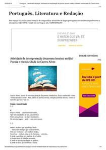 Portugues Literatura E Redacao Atividade De Interpretacao De