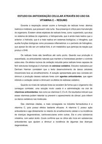ESTUDO DA ANTIOXIDAÇÃO CELULAR ATRAVÉS DO USO DA VITAMINA C