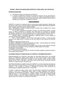 RESUMO   Direito das Obrigações (Espécies e Teoria Geral dos Contratos)