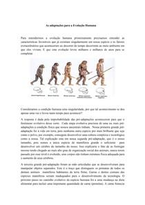 As adaptações para a Evolução Humana