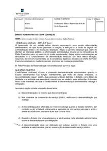 EXERCÍCIOS DE ADMINISTRATIVO I