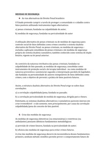 MEDIDAS DE SEGURANÇA DIREITO PENAL