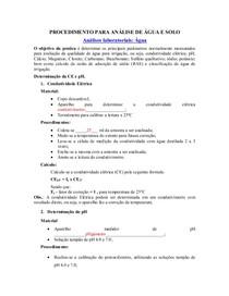 Procedimento para Análise água laboratório 2013