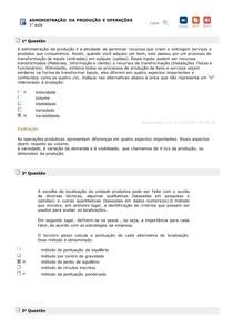 EXERCÍCIOS AULAS 1 A 5 ADM DA PROD E OPER