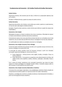 A2 Análise Positiva & Análise Normativa