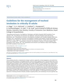 2018) Guidelines for the management of tracheal intubation in