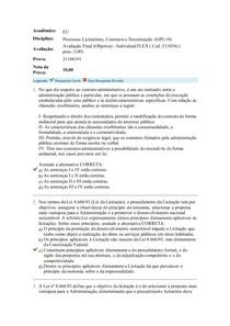 AVALIAÇÃO FINAL OBJETIVA PROCESSOS LICITATÓRIOS, CONTRATOS E TERCEIRIZAÇÃO UNIASSELVI