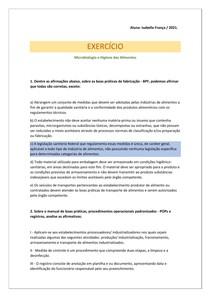Exercício 2 - Microbiologia e Higiene dos Alimentos