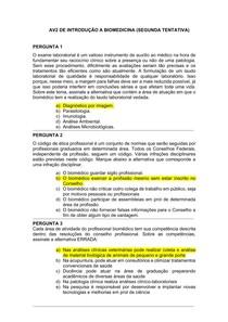 AV2 De Introdução à Biomedicina (Segunda tentativa)
