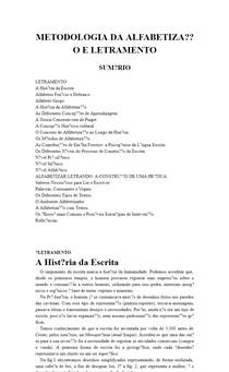 METODOLOGIA DA ALFABETIZAÇÃO E LETRAMENTO