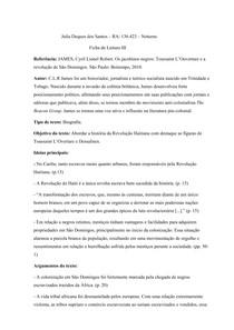 Fichamento Os jacobinos negros: Toussaint L'Ouverture e a revolução de São Domingos - Cyril Lionel Robert James
