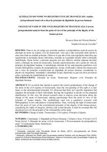 ALTERAÇÃO DO NOME NO REGISTRO CIVIL DE TRANSEXUAIS