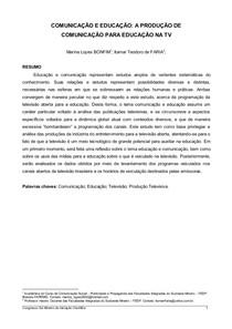 Artigo   Comunicação e Educação, A Produção de Comunicação para Educação na TV   Marina Lopes