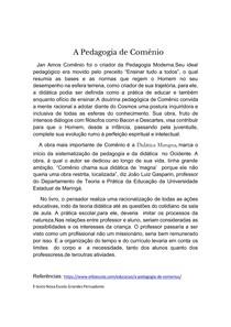 Pesquisa sobre A pedagogia de Comênio