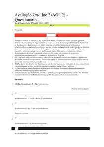 Avaliação Online 2 - Educação em Direitos Humanos