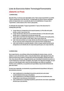Lista de Exercícios de Física do Enem Sobre Termologia/Termometria - Parte 2