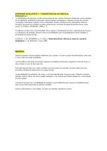 ATIVIDADE 1 - FUNÇAO SOCIAL DA ESCOLA