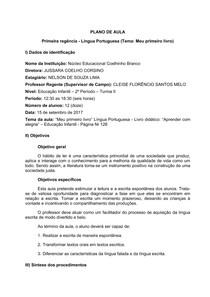 Plano de Aula - Portugues - Educação Infantil