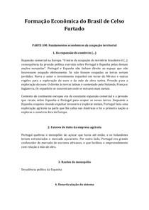 Fichamento Formação Econômica do Brasil de Celso Furtado